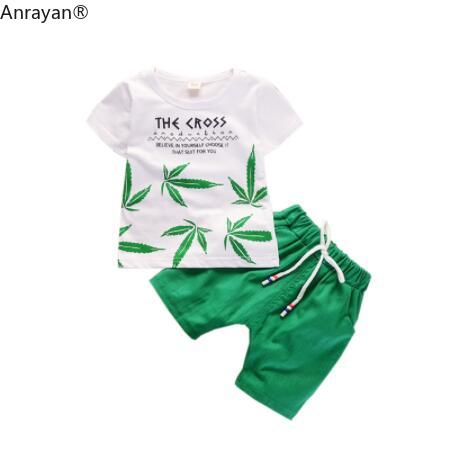NEW Summer Children Boys Girls Clothing Sets Kids Leaf T-Shirt Shorts SET Toddler Leisure Sport Suits Baby Cotton Tracksuits