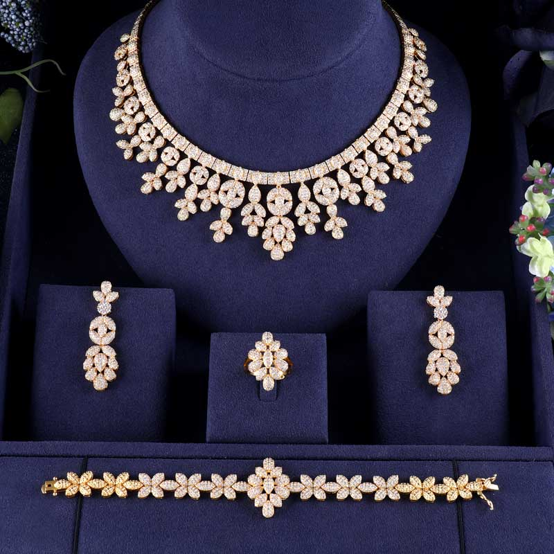 jankelly Hotsale African 4pcs Bridal Jewelry Sets New Fashion Dubai Full Jewelry Set For Women Wedding jankelly Hotsale African 4pcs Bridal Jewelry Sets New Fashion Dubai Full Jewelry Set For Women Wedding Party Accessories Design