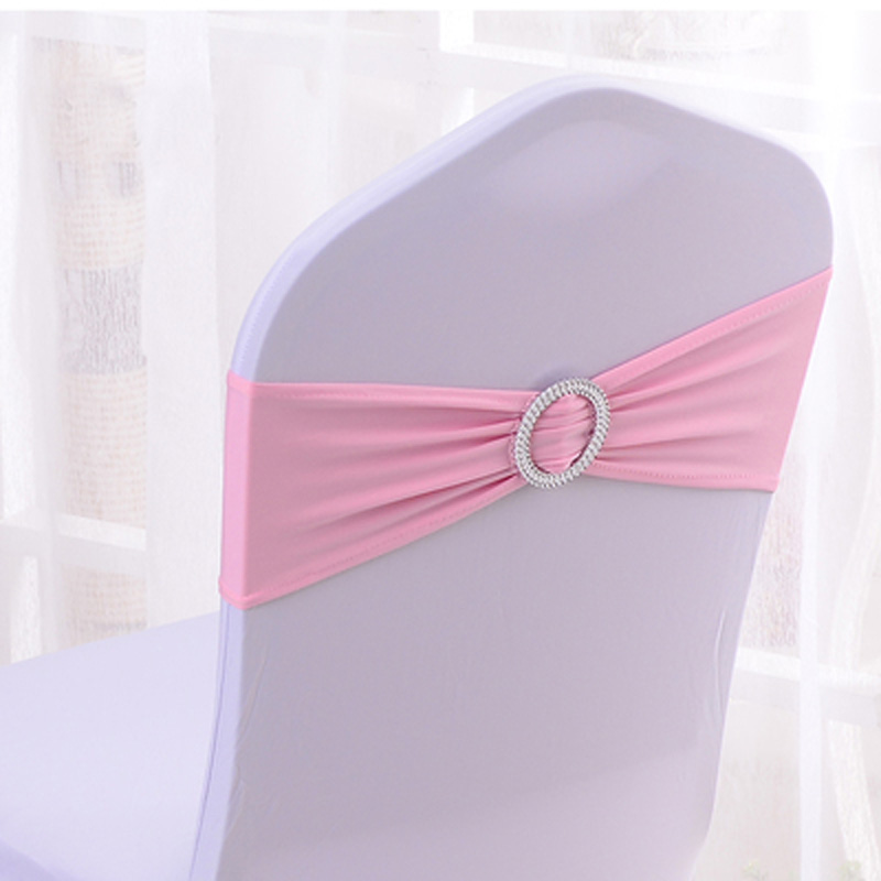 500Pcs Round Rhinestone Buckle Slider Chair Band Stretch Elastic Spandex Chair Bow Wedding Banquet Party Event Chair Sashes in Rhinestones from Home Garden