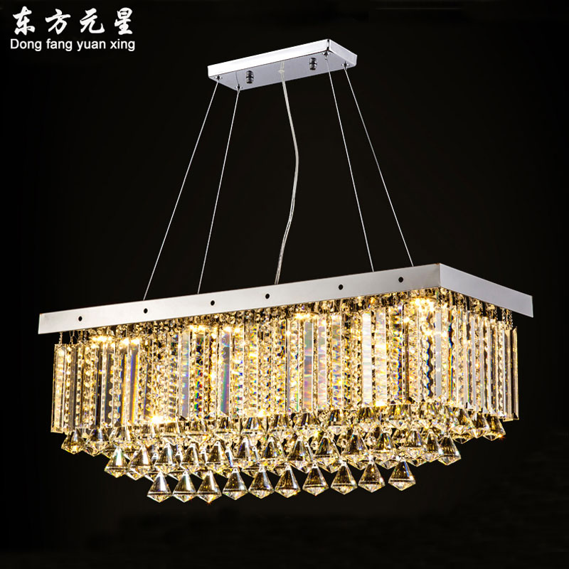LED crystal pendant light hanging lamp rectangular restaurant dining room bar interior lighting fixture|Pendant Lights|   - title=