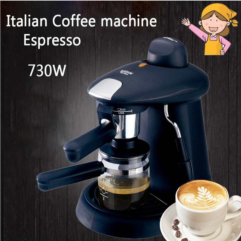 Household Italian Coffee Machine Espresso 730W Automatic Steam Fancy Coffee Maker Set Milk Foam TSK-1822A
