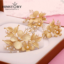 2015 Newest Graceful Butterfly and Flower Gold Hairpins ,3pcs set Wedding Bridal Hair Accessory
