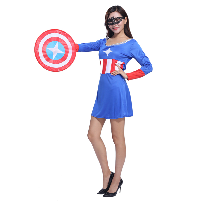 The New Adult Halloween Costume Captain America Avengers Cosplay Clothes Adult Female Fighters