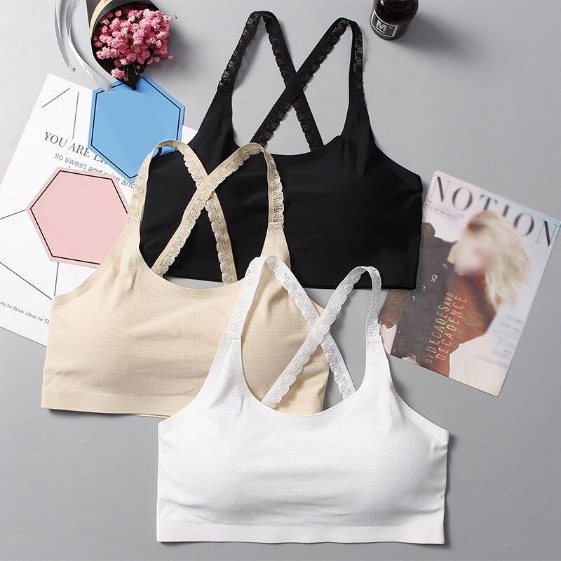 Women Lace Shoulder Strap Tank Tops Beauty Back Bra Cross Bralette Bustier Underwear