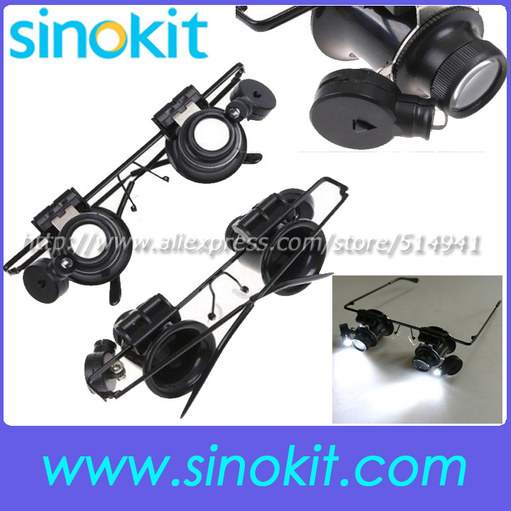 Jeweler Watch Repair 20X Magnifier Magnifying LED Light Glass Loupe Glasses helping hand magnifier 9892A-II