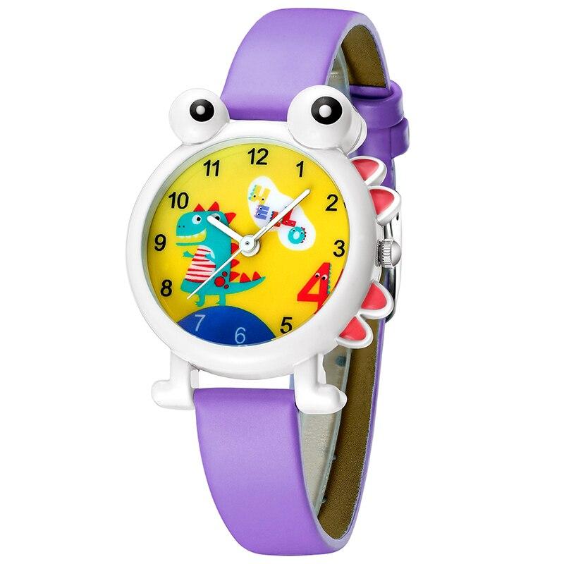 KDM 2019 New Cute Cartoon Dinosaur Child Watch Genuine Leather Kids Boys Watches Kid Children Wristwatch Teenagers Clock