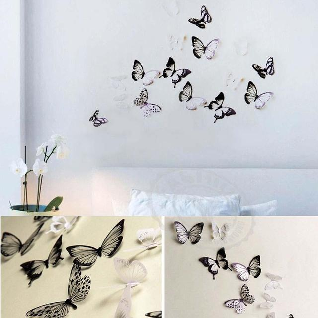 18pc DIY 3D Butterfly Wall Stickers Art Decal PVC Butterflies Home Room  Decor APE PML
