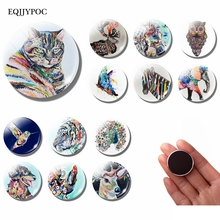 Flower Animal 30 MM Fridge Magnet Coloured Drawing Glass Dome Note Holder Magnetic Refrigerator Stickers Home Decoration