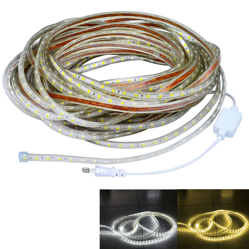 ФОТО Jiawen 30M Waterproof IP66 216W 1800-5050 SMD white/warm white LED Flexible Light Strip (AC 220V)