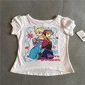 12 M - 5 T varejo 1 peça frete grátis bebê da menina roupas princesa elsa & anna branco camiseta de manga curta top verão Tee