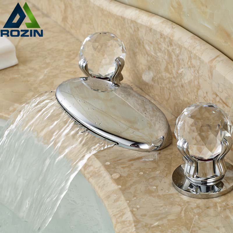 High-end Basin Countertop Faucet Waterfall Widespread Double Handles Crystal Deck Mounted Taps Chrome Finish