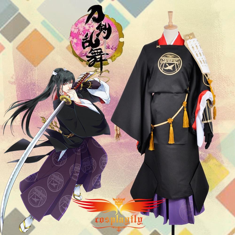 Hot Webgame Touken Ranbu Taroutachi Kimono Cosplay Costume Custom Black Printed Kimono Lavender Skirt Clothing For