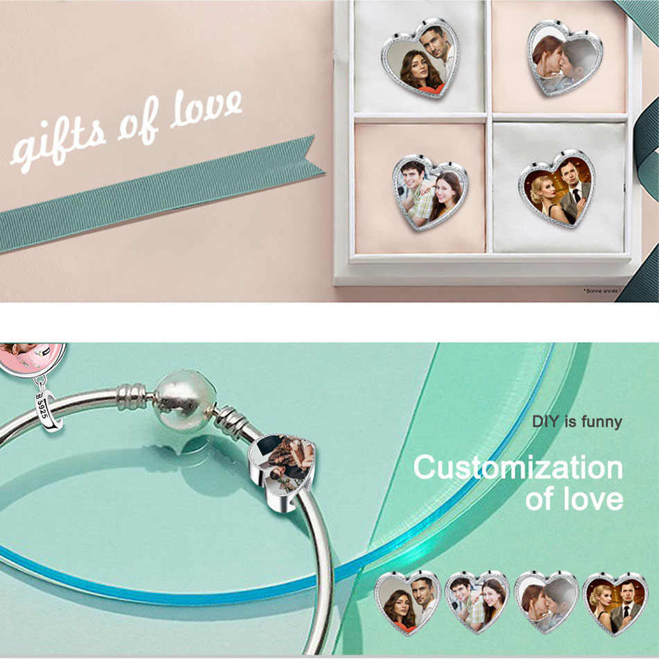 bfe1f556b ... ELESHE Personalized Custom Photo 925 Sterling Silver Crystal Heart Dog  Charms Fit Pandora Bracelet Original DIY ...