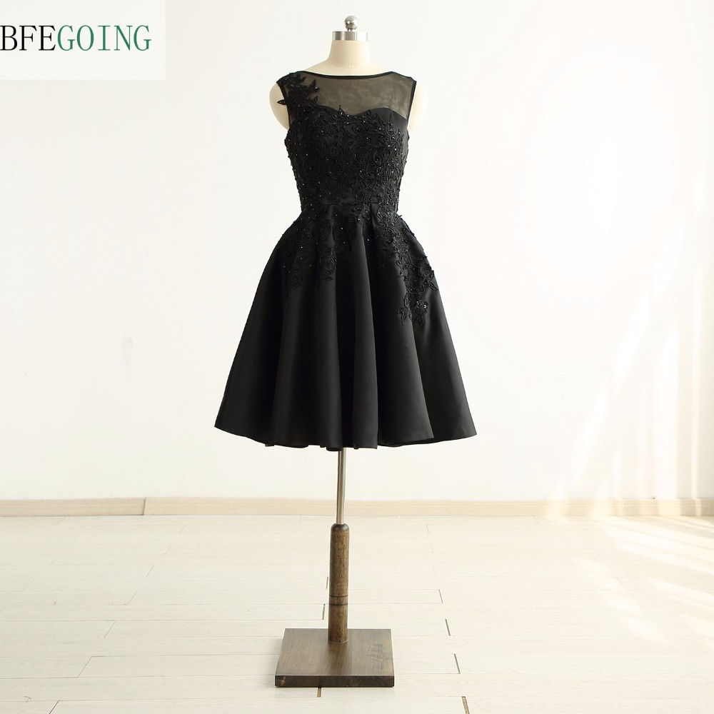 Black Tulle Satin Appliques A-line Party   Cocktail     Dresses   Knee-Length V-Back Real/Original Photos