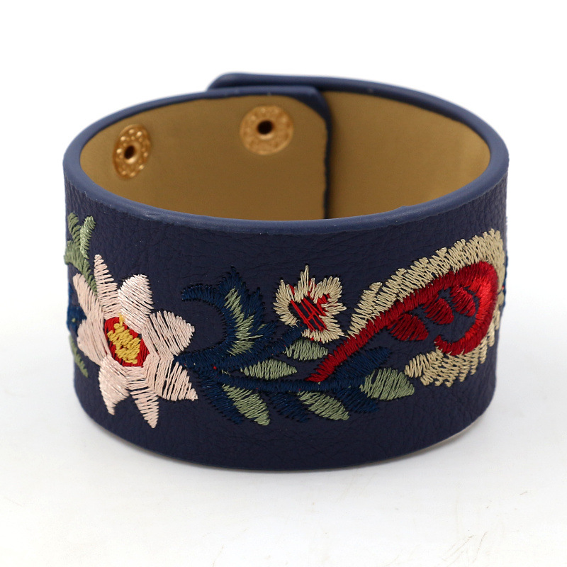 Kirykle PU Leather Embroidered Personality Wide Bracelets Bangles Women Bracelet Multicolor