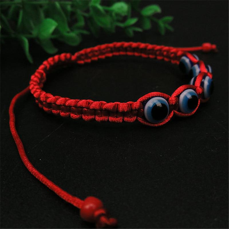 2017 New Turkey Glass Bead Evil Eye Charms Bracelet Red String Rope Braided Bangles Bracelets For Women Men Adjustable Length men beaded bracelet red