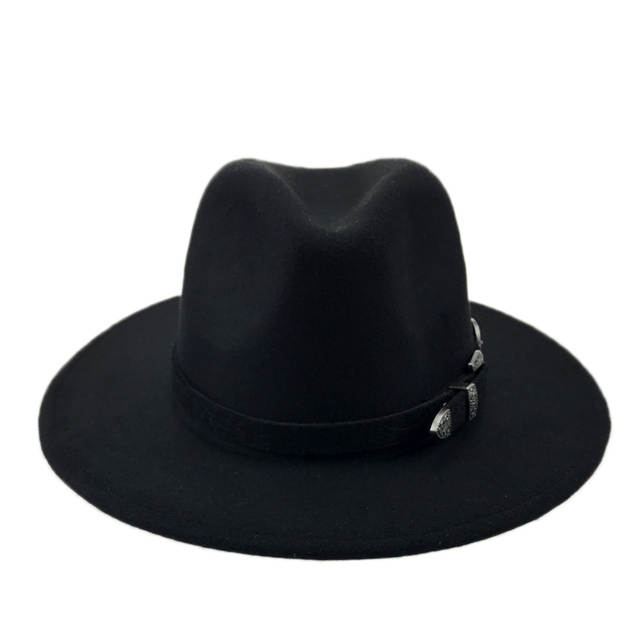 placeholder Special Felt Hat Men Fedora Hats with Belt Women Vintage Trilby  Caps Wool Fedora Warm Jazz 5850b586e3