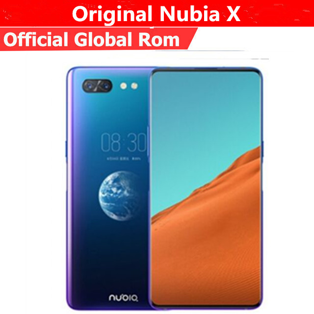 Original ZTE Nubia X 4G LTE Mobile Phone Snapdragon 845 Android 8.1 6.26+5.1'' Dual Screen 8GB RAM 256GB ROM 16+24MP Fingerprint