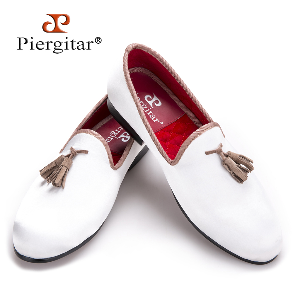 new white sequined cloth shoes with brown tassel fashion