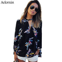 Aelorxin 2017 Women S Blouses Sexy Half Open Collar Boho Floral Printing Long Sleeved Summer Tops