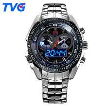 Top Marque TVG Militaire Sport Montres Hommes Quartz Analogique LED montre-bracelet en acier inoxydable Horloge Hommes Armée Montre-Bracelet 2 PCS/lot