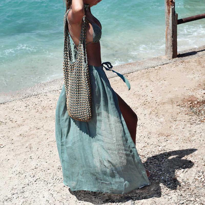 16c4beafe1649 ... Sexy Beach Cover Ups Wrap Maxi Skirt Bikinis 2019 Swimsuit Female  Swimwear Women Solid Pareo Summer