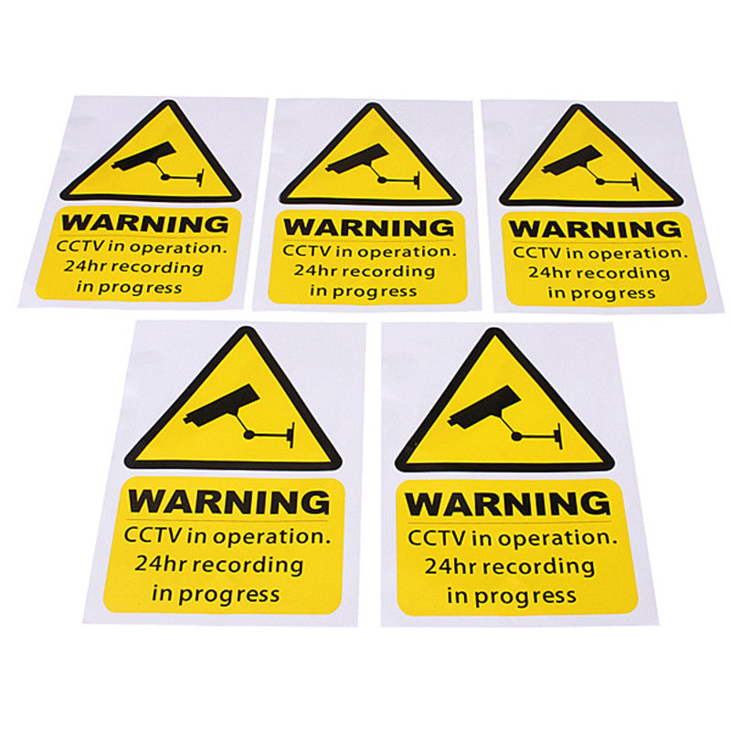 5pcs a lot new arrival high end 5pcs yellow window warning stickers signs decal cctv in operation 100mm x 150mm in warning tape from security protection