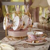 Top grade bone china coffee cup set Ceramics teapot Saucer British porcelain tea cup set Teatime Afternoon Tea party drinkware