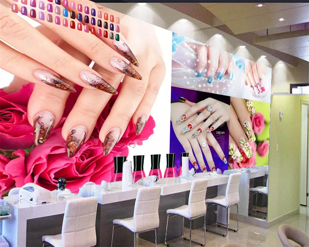 Us 8 85 41 Off Beibehang Wallpaper Custom Wallpaper Mural Photos 3d Super Beautiful Beauty Salon Nail Salon Tooling Wall Decoration Painting In