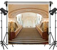 Vinyl Splendor Stair Gold Pattern Decorative Lamp Palace 10X10FT Studio Backdrop Photography Photo Props Photographic Background