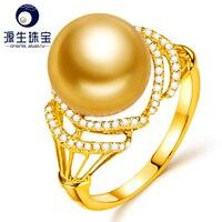 [YS] Новое прибытие 18 К Золотое кольцо 10 11 мм Золотой южного моря жемчужное кольцо для женщин