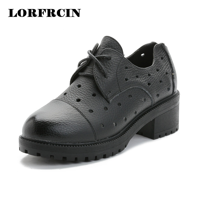 ФОТО LORFRCIN 2017 Genuine Leather Spring Summer Shoes Woman Vintage Flat Shoes Round Toe Lace Up Creepers Oxford Shoes For Women