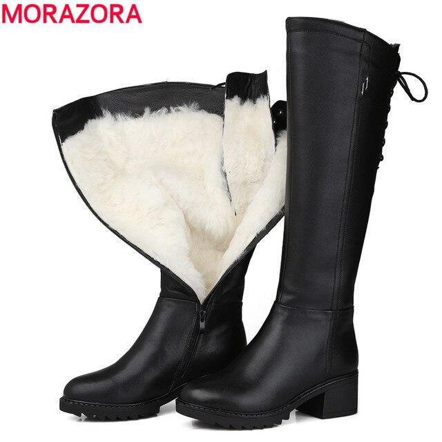 MORAZORA 러시아 2020 정품 가죽 부츠 모피 패션 무릎 높은 부츠 여성 따뜻한 천연 양모 부츠 라운드 발가락 겨울 스노우 부츠