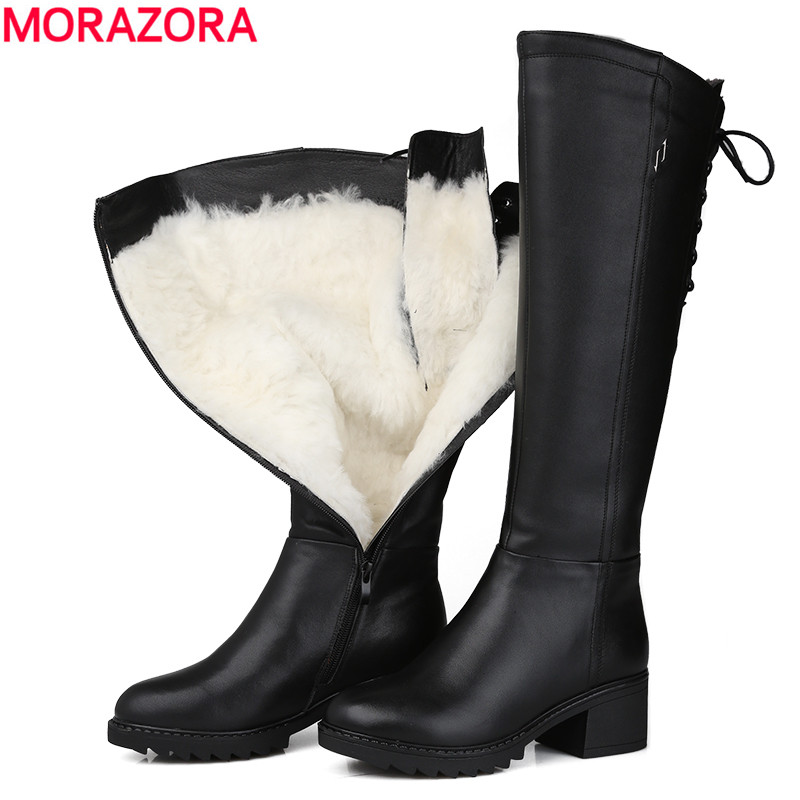 MORAZORA Russia 2018 Genuine leather boots wool fur fashion knee high boots women warm wool boots round toe winter snow boots цена 2017