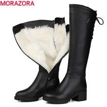 Morazoraロシア 2020 本革ブーツ毛皮ファッションニーハイブーツの女性暖かい天然ウールのブーツ冬の雪ブーツ