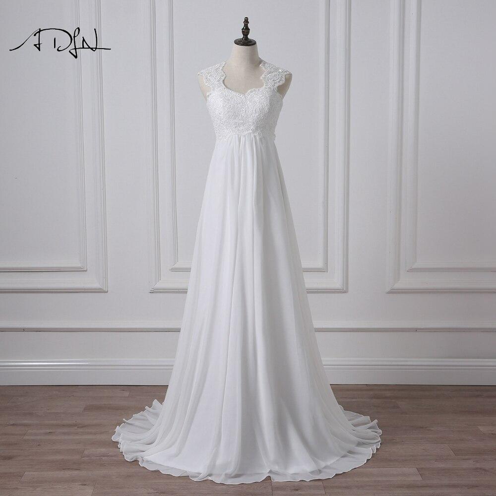 ADLN 2018 Empire Wedding Dress Sexy Back Summer Chiffon Bridal Gown with Appliques Vestidos de Novia Plus Size Available