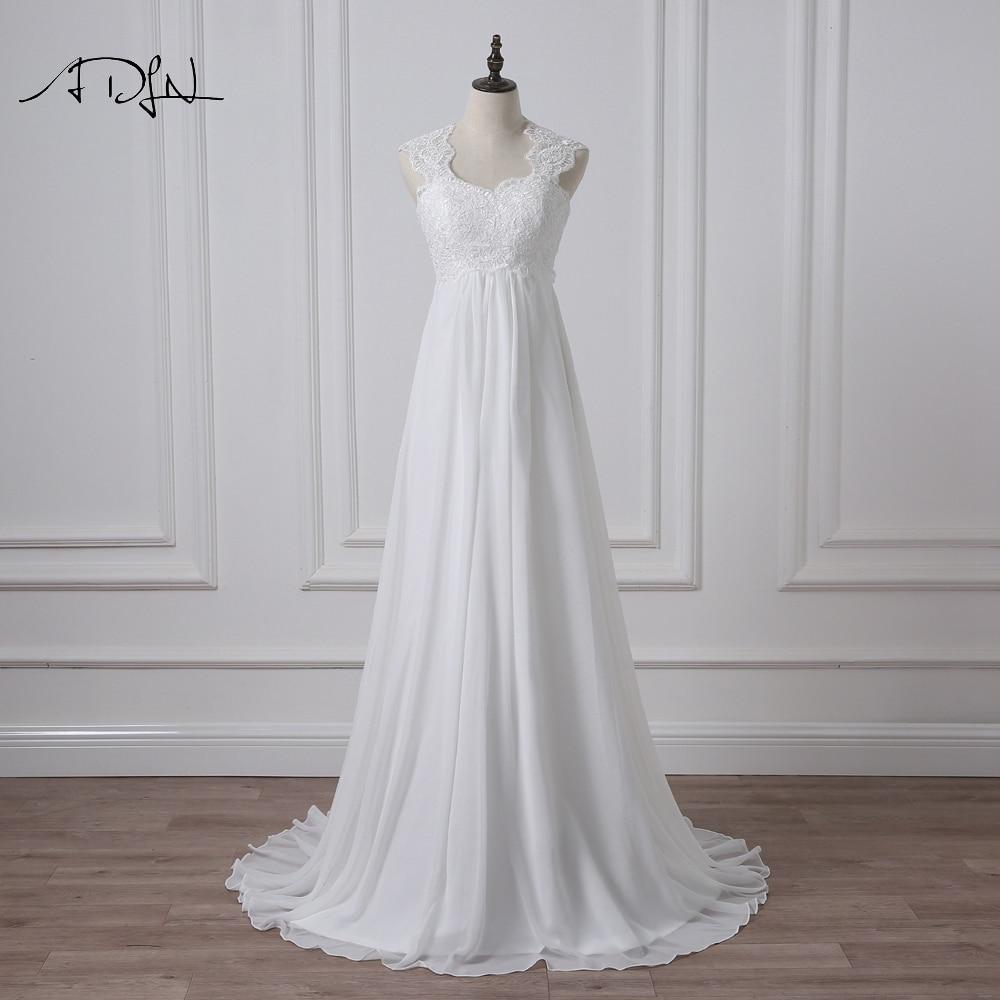 ADLN 2019 Empire Wedding Dress Elegant White/Ivory Chiffon Bridal Gown with Appliques Vestidos de Novia Plus Size Robe de Mariee
