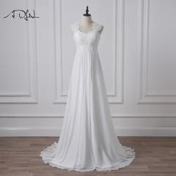 ADLN 2019 Empire Wedding Dress White/Ivory Chiffon Bridal Gown for Pregnant Woman Vestidos de Novia Plus Size Robe de Mariee