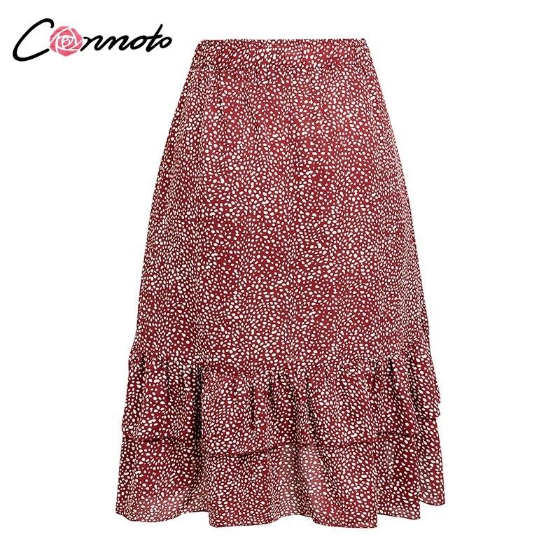 Conmoto 19 High Waist Flounce Beach Women Skirts Polka Dot Feminino Summer Skirts Ruffles Asymmetrical Elegant Midi Skirt 9