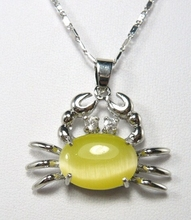 pendant! silver plated 13*18mm yellow crab shape pendant