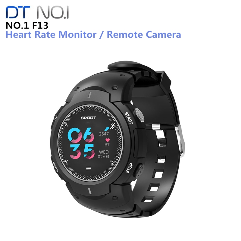 NO.1 F13 Smart Watch Real-time Heart Rate Monitor Bluetooth 4.0 Waterproof SmartWatch Remote Camera Sports Outdoor Wristband image