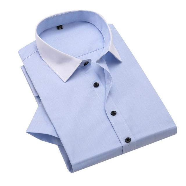 Mens non iron slim fit short sleeve spread collar for Mens wide collar dress shirts