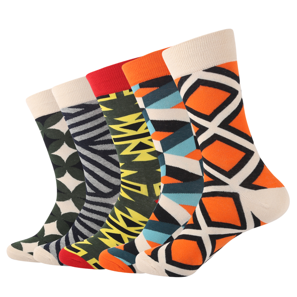 Brand Fashion Cool Colorful Argyle Geometry Cotton Mens Long Socks High Crew Thick Funny Socks for Mens gift 5 Pairs Set