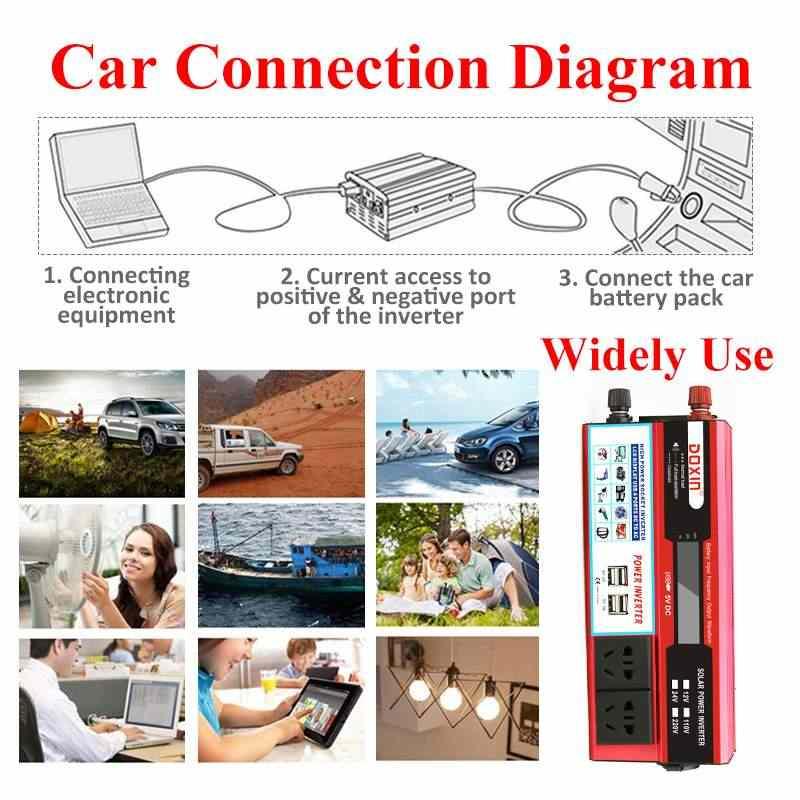 6000W 4 USB falownik solarny DC12/24 V do AC 220V zasilacz samochodowy konwerter ładowania wyświetlacz LCD zmodyfikowany transformator sinusoidalny