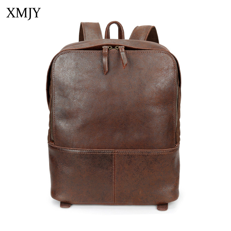 XMJY Men Genuine Leather Backpacks Cow Leather Preppy Vintage School Bag Soft Back Laptop Notebook Rucksack Women Travel Bag swdvogan new travel backpack korean women rucksack pocket genuine leather men shoulder bags student school bag soft backpacks