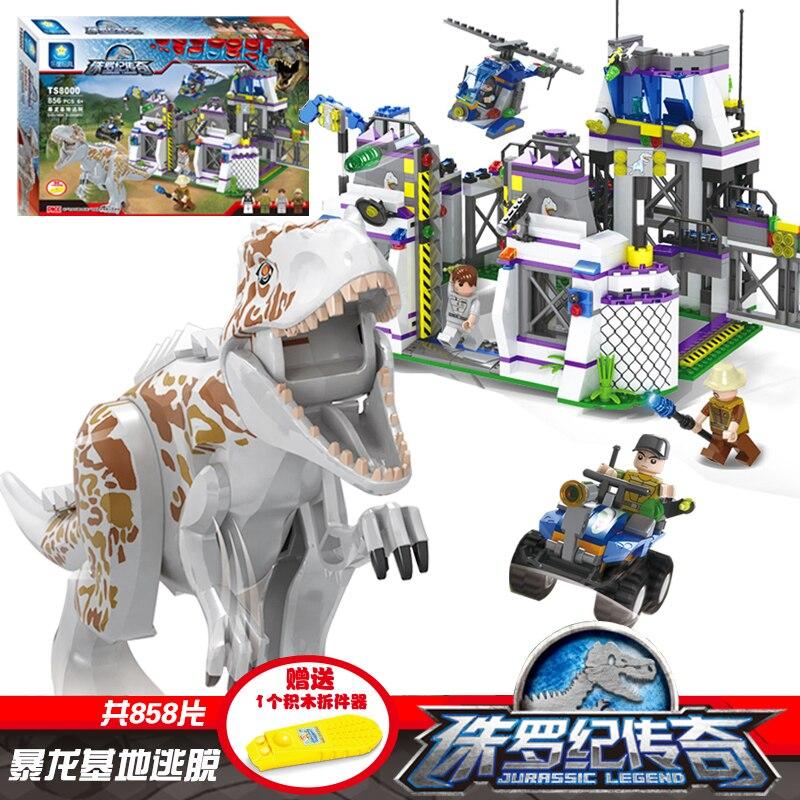 TS8000 насильственные брутальный динозавров Indominus Rex breako Юрского Dinosaur World строительный блок игрушки совместим с legoings 75930