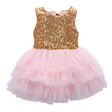 2017 Summer Cute Sleeveless Baby Girl Sequins Dress Bow Lace Tulle Birthday Party Gown Christmas Children Girls Formal Dresses
