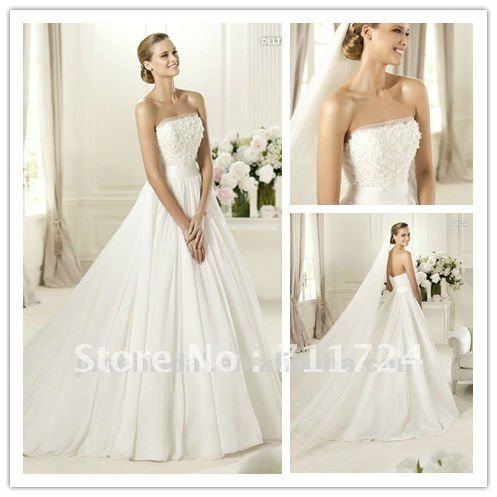 Aline Organza Strapless White Linen Wedding Dress