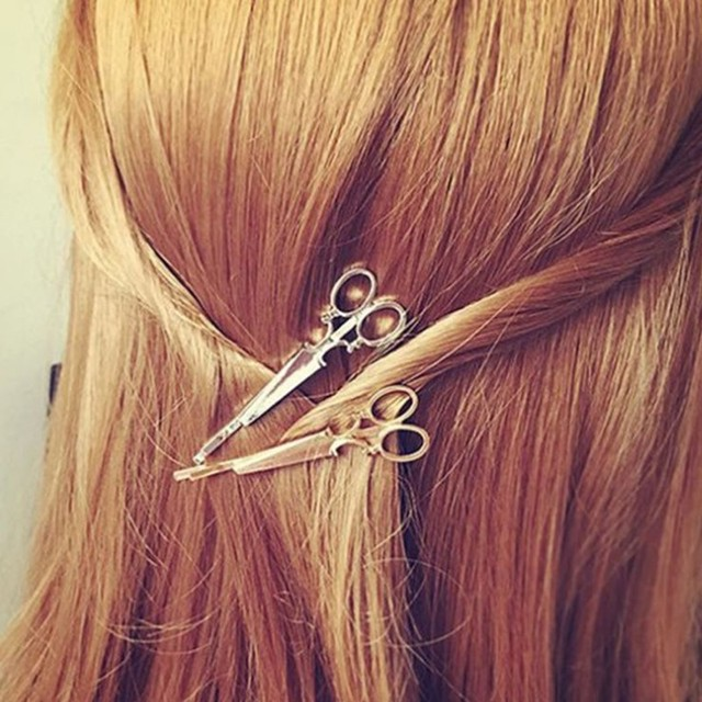 Europe And The United States Foreign Trade Accessories Personality Retro Fashion Small Scissors Hair Clips Side
