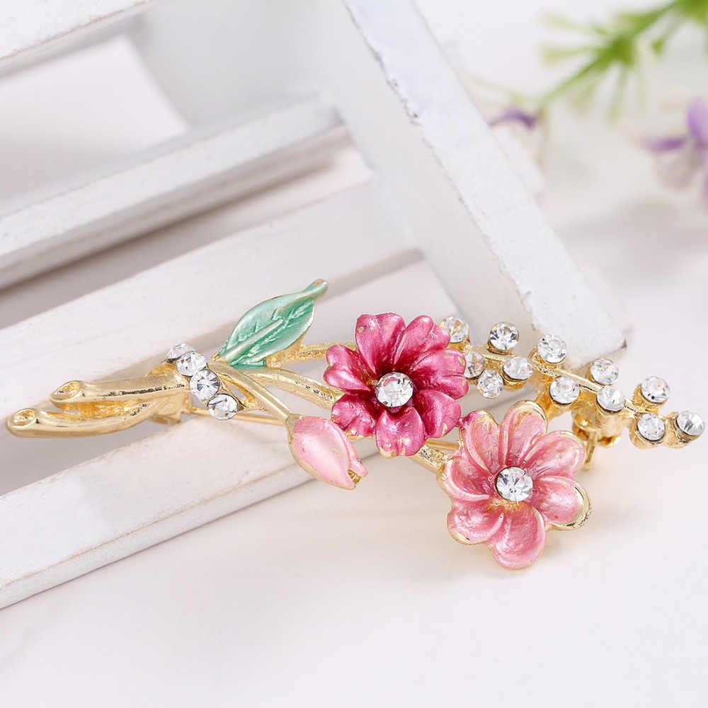2018 Baru Beruntung Pink Enamel Bunga Bros Wanita Jilbab Pin Korsase Bros untuk Wanita Pernikahan Gaun Lencana Aksesoris Perhiasan